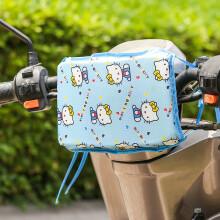 电动电瓶车前置儿童座椅防撞头保护垫加厚海绵摩托车宝宝防碰头垫 蓝色凯蒂猫(大号29*21cm)