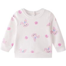 安奈儿童装女童春装圆领长袖卫衣2021年可爱兔子印花上衣可打底外穿 白蓝花