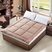水星家纺床垫床褥子加厚软垫四季保护垫可折叠床垫子 乐肤绒舒柔床垫(咖色+灰色) 150×200cm