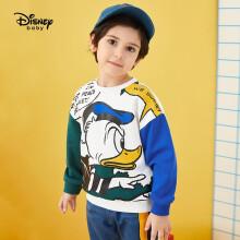 京东超市迪士尼 Disney 儿童童装男童针织圆领撞色卫衣卡通长袖上衣打底衫2021春 DB121AA17 本白 140cm