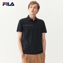 FILA斐乐官方男士短袖POLO衫2021春季新款商务短袖POLO领上衣 正黑色-BK 170/92A/M