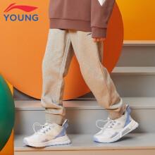 京东超市李宁童装儿童运动裤子男大童2021年春款长裤休闲裤运动生活系列春款棉质运动卫裤YKLQ389-2花灰160