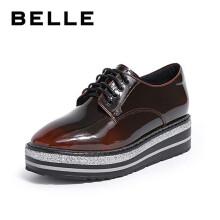 BELLE/百丽渐变超纤漆人造革女厚底休闲单鞋BAZB9CM9 黑棕色 34