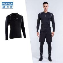迪卡侬紧身衣男健身衣服足球跑步服运动T恤篮球训练速干衣KIL 黑色 M