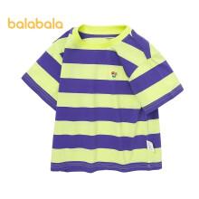 京东超市 巴拉巴拉儿童短袖T恤男童上衣宝宝童装2021新款夏装条纹时尚全棉208221117159紫色调130