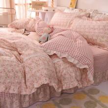 格瑞雅居  床上四件套纯棉全棉公主风小碎花田园风床上用品床单被套枕套被罩 粉诺 1.5米/1.8米床通用被套200*230cm