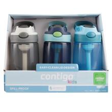 美国contigo康迪克儿童无缝吸嘴吸管杯便携塑料学生水杯400ml男生款3只装HBC-GIZ167