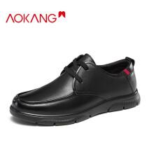 奥康(Aokang)官方男鞋 商务系带单鞋休闲男士皮鞋子男113321025黑色39码