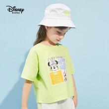 京东超市 迪士尼 Disney 童装女童卡通短袖T恤透气针织上衣圆领打底衫外出上衣2021夏DB121BE04 白黑条 140 果绿-女童