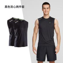 迪卡侬运动背心肌肉男跑步速干上衣健身服透气宽松无袖t恤RUNM 黑色背心两件套 XL
