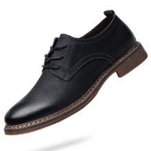 路易克思英伦风牛皮时尚休闲男士商务系带低帮增高皮鞋2630 【单款黑色】 40