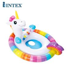 INTEX儿童游泳圈坐圈宝宝腋下圈男孩女孩游艇遮阳小孩坐骑1-3-6岁 坐圈  独角兽造型