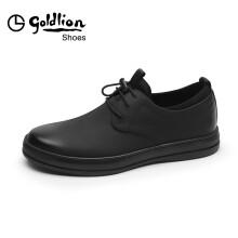 金利来(goldlion)男鞋时尚正装舒适皮鞋柔软耐磨商务休闲鞋50873076101A-黑色-42码