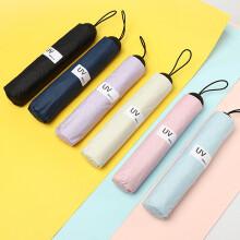 太阳城 雨伞 三折外翻折叠雨伞晴雨两用遮阳伞加强版黑胶素色太阳伞 藏青色
