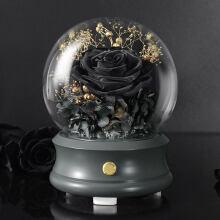 野兽派同款中意礼进口黑色玫瑰永生花玻璃罩礼盒旋转八音乐盒摆件女生日情人节礼物 黑玫瑰蓝牙音箱