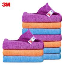 3M洗车毛巾擦车布洗车布细纤维强吸水毛巾汽车用品 10条装40cm*40cm颜色随机