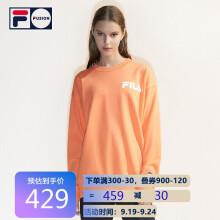 FILA FUSION斐乐情侣款卫衣 2021秋季新款宽松圆领中性款卫衣男女 橘色-C-OR 160/84A/XS