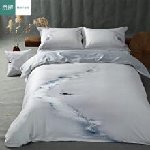 然牌 贡缎四件套 纯棉国风画活性印花床单被套 烟波画船 1.5米床(200*230cm)