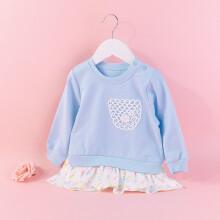 贝贝怡2021春装新品女童休闲卫衣童装宝宝长袖裙式印花裙上衣卫衣24个月/身高90cm 蓝色