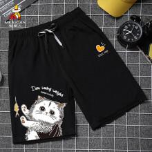 稻草人(MEXICAN)五分短裤男2021夏季ins潮流宽松大裤衩男装运动休闲沙滩裤 黑色-猫 XL
