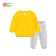 贝贝怡2021年春季男小童男孩可爱卡通运动休闲卫衣套装外出服24个月/身高90cm 黄色