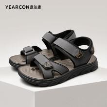 意尔康男鞋户外运动凉鞋休闲漏趾舒适沙滩鞋韩版潮流鞋子男 1342ZS97841W 灰色 42