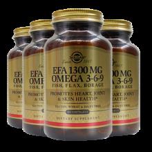 美国进口SOLGAR琉璃苣油亚麻籽油Omega 3-6-9鱼油软胶囊中老年降三高降胆固醇 4瓶