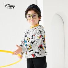 迪士尼 Disney 童装儿童男童针织不倒绒圆领卡通卫衣米奇潮酷上衣2020秋冬 DB041EE08 灰底米奇欢乐颂 130cm