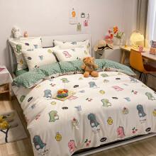 京东超市 多喜爱(Dohia)床品套件 全棉斜纹双人四件套 床单款 恐龙们的狂欢派对 1.5/1.8米床 203*229cm