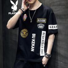 花花公子(PLAYBOY)短袖T恤青年2021夏季时尚套头上衣韩版潮流印花男装 黑色 2XL