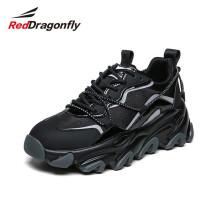 红蜻蜓(REDDRAGONFLY)女鞋老爹鞋女休闲鞋ins潮鞋百搭厚底运动鞋 WTB111691/92 黑色 39