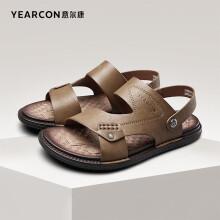 意尔康男鞋潮流休闲时尚凉鞋韩版两用拖鞋漏趾平底鞋子男 1342ZS97856W 卡其 38