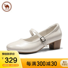 骆驼牌 女鞋浅口粗跟一字扣单鞋圆头休闲皮鞋女 W01269500 米白 37