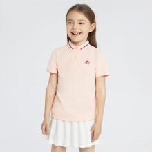 京东超市安奈儿儿童夏装男童女童上衣短袖t恤polo衫童装2021年夏装奶油粉150