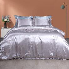 埃迪蒙托床上用品莫代尔提花床笠四件套北欧风欧式提花 8240银灰色床单四件套 1.8m(6英尺)床