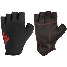 阿迪达斯adidas健身手套 半指防滑轻薄款 哑铃训练骑行运动手套男女 黑红色M码