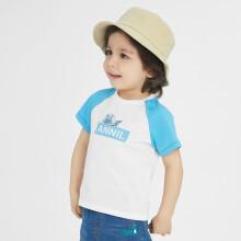 京东超市安奈儿童装男女童T恤薄款2021年纯棉兔子印花宝宝上衣短袖夏装智能蓝120