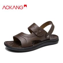 奥康(Aokang)凉鞋沙滩鞋男鞋舒适休闲露趾透气两穿简约防水103712023 / 1213721007棕色38码
