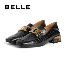 BELLE/百丽2021款商场同款石头纹牛皮革女皮乐福鞋W2C1DAA1 黑色 34