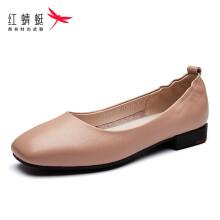 红蜻蜓( RED DRAGONFLY )女鞋低跟方头休闲平底套脚浅口女单鞋 WNB00111/12/13 粉色 36