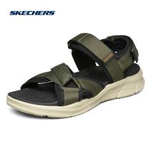 Skechers斯凯奇男子运动休闲凉鞋魔术贴露趾沙滩鞋 237050 OLBK橄榄色/黑色 42