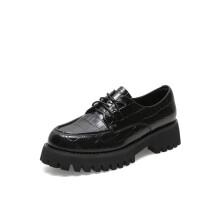 天美意 TEENMIX 复古风厚底乐福鞋单鞋女皮鞋CX321AM1 黑色/石头纹 40