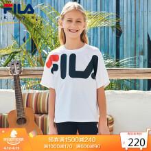 京东超市 FILA斐乐童装儿童短袖T恤2021年春季新款女孩中大童运动圆领上衣潮K62G511103FRD火红150 标准白-女-03WT