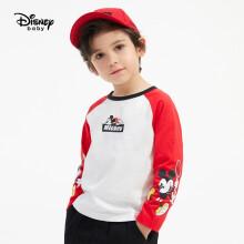 迪士尼 Disney 童装儿童男童长袖T恤针织上衣卡通可爱插肩打底衫 2021春 DB111AE09 大红 110