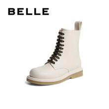 BELLE/百丽牛皮革女马丁靴80887DD0 米白 38