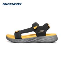 Skechers斯凯奇官方男子轻便休闲运动沙滩鞋魔术贴凉鞋55383 木炭色/黄色/CCYL 42.5