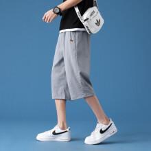 BABIBOY 短裤男韩版潮流薄款宽松中裤2021新款夏季运动休闲七分裤子 K768 浅灰 XL