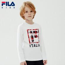 FILA斐乐童装男童长袖春季儿童长袖T恤圆领上衣潮K12B011208FWT标准白160