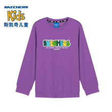 京东超市斯凯奇Skechers男女儿童时尚撞色印花套头卫衣L320K127 00QA水晶紫 M 120