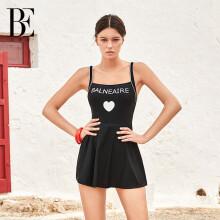范德安(BALNEAIRE)61096 BE范德安小红心系列裙式连体泳衣女 收腰显瘦时尚 黑色 L